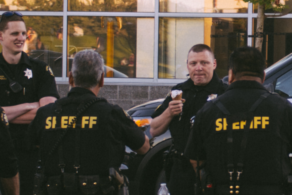 Seattle Police Officer Eating Ice Cream